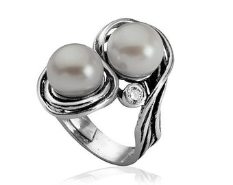 pearls sterling silver ring set with cz zircon, sterling silver jewelry , Bluenoemi ring, Hanukkah gifts, Christmas gift, gift for woman