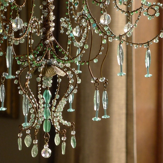 A Torquoise and Teal Sunshower Chandelier # Sunshower Blue_021322