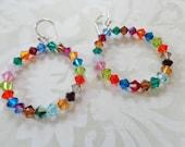 Earrings, Colorful Swarovski Crystal And Silver Hoops