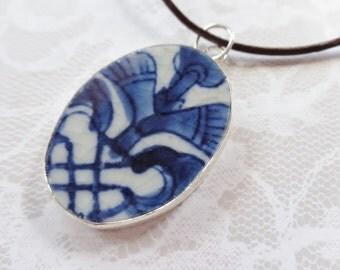 Unique Repurposed Blue Willow China Pendant Necklace