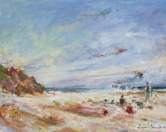 Beachy Day - Original Impressionist Oil Painting OR Print - Oregon Coast - Kites Flying - Seascape Painting