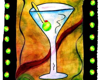 Martini and olives bar Throw Blanket from my original art