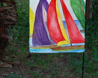 Colorful Sails sailboat nautical yard flag from my art.  Available in 2 sizes