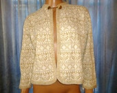 "Vintage 1950's - Kay Wright - Orlon Acrylic - Embellished - Metallic Gold and Crisp White - Knit - Crop - Sweater - Jacket - Coat - 42"" bust"