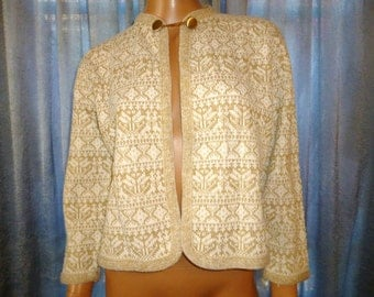 "Vintage 1950's - Kay Wright - Orlon Acrylic - Embellished - Metallic Gold and Crisp White - Knit - Crop - Sweater - Jacket - Coat - 42"" bust"