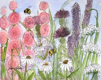 Art Watercolor Botanical Illustration Bees Garden Flowers Original