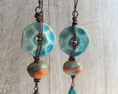 Turquoise and Persimmon Earrings