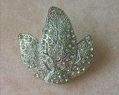 Vintage Pot Metal Pave Rhinestone Leaf Shaped Fur Clip