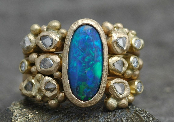Custom Stacking Ring Set- Diamond, Black Opal, Raw Diamonds, and Diamond Melee on Recycled 18k Gold- Deposit