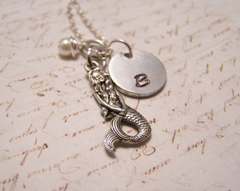 Mermaid Necklace with Initial charm. Custom Personalized, Mermaid at heart