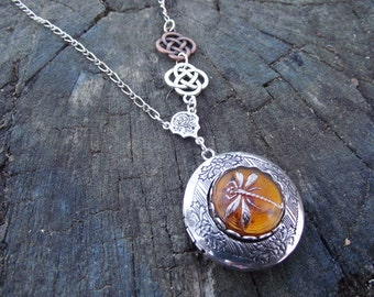 Double Celtic Dragonfly in Amber  - Czech Glass Dragonfly Button, Double Celtic Knot and Sterling Silver Plated Locket Necklace