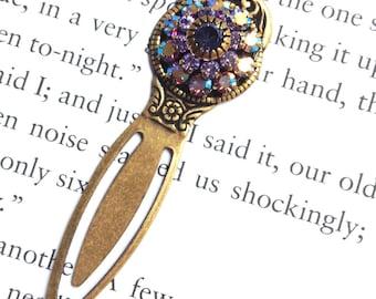 Clip on Iridescent Swarovski Crystal Bookmark