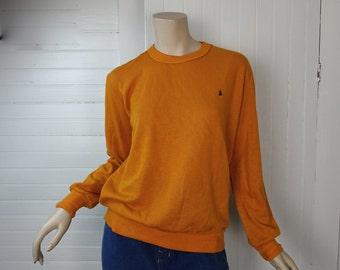 80s Orange Sweatshirt- 1980s Pullover Top in Pumpkin- Men or Women
