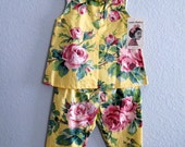 Vintage Twin Set Girls Capris and Sleeveless Top NOS age 6 to 7, Dressy Summer Play Set Little Girls 6X Large Pink Roses on Yellow
