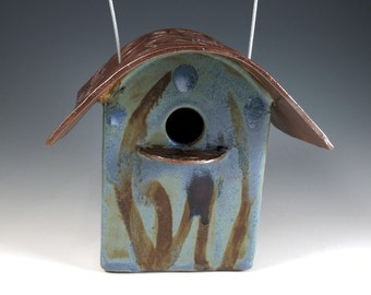 Blue Ceramic Bird House - Pottery Birdhouse - Outdoor Art - Garden Decor - Blue Birdhouse - Ready for Occupancy - 306
