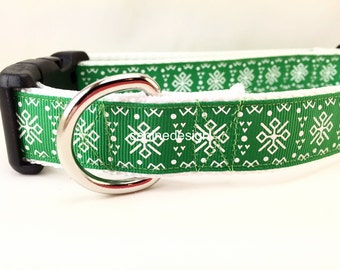 St Patrick's Dog Collar, Emerald Isle, 1 inch wide, adjustable, quick release, metal buckle, chain, martingale, hybrid, nylon
