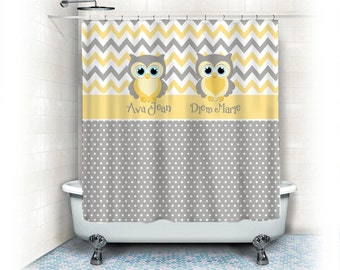 Yellow and gray shower curtains   Etsy