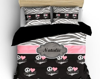 Monogrammed Softball & Zebra Bedding-  Silver Grey Zebra, Charcoal-wht-pink-grey Heart Love Softball- available Twin-Queen or King Size