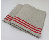 Linen tablecloth- Hand printed red stripes - Eco-friendly - Free shipping to USA