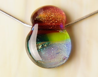 Handmade Dichroic Fused Glass Silver Chain Pendant Necklace ...slider...