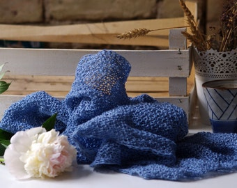 SALE. Blue blue sky. Hand knitted scarf  from natural  linen.   Ready to ship.