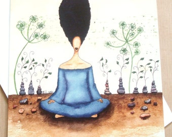 African American 'Needing Stillness' Greeting Card