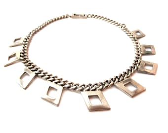 Brookraft Signed 1950s Silver tone Industrial Chunky Metal Chain & Diamond Shaped Fused Links Choker Necklace