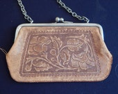 Vintage leather purse, Worlds Fair .1904 .Tooled Coin Purse .Leather coin purse,souvenir worlds fair