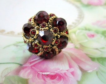 Vintage Red glass rhinestone Cocktail Ring BIG BLINGY Chunky Ring