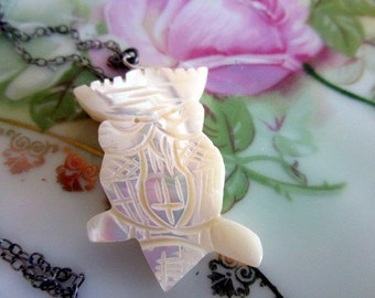 Vintage carved Mother of pearl Owl Pendant necklace sterling chain