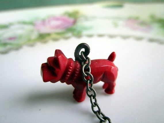 Antique old carved celluloid red bull dog cracker jack charm