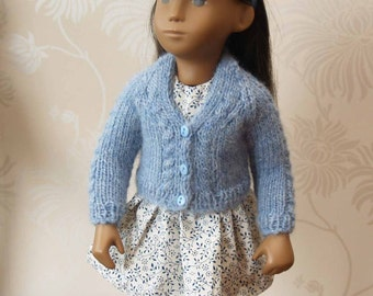 "Sasha 16"" 17"" Doll V Neck Cardigan with Cable Twist Knitting Pattern"