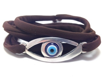 Evil eye lucky string wrap bracelet - large evil eye - Friendship bracelet