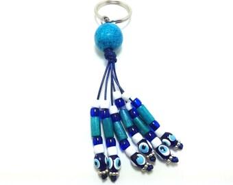 Greek evil eye keyring - wood - ceramic - Greek amulet - Car/home gift - Made in Greece - Greek amulet - Lucky eyes - Car accessories
