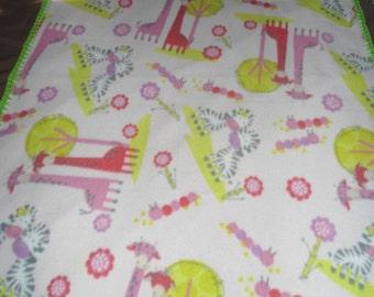 Zebra and Giraffe baby blanket with matching Bib