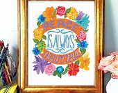Quote Print, Peace Is Always Beautiful, Hand-lettered Print, Flower Illustration, Flower Print, Bold Color, Hand drawn print, inspiration