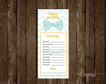 Bow Tie Chevron - Wishes for Baby - Baby Shower Game Card - Digital file - Instant Download