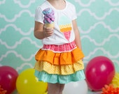Girl's Ruffle Skirt and Shirt Set- SALE- Rainbow Scoops- RTS Size 6