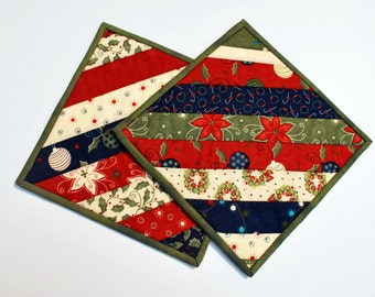 Handmade gift cotton potholders mug rugs snack mats Holiday Joy red green cream set of two housewarming wedding gift Quiltsy Handmade