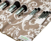 Make Up Brush Organizer | Roll Up Makeup Case | Travel Makeup Roll | Gray Damask | Ready To Ship