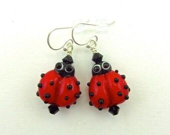 Ladybug Earrings - Handmade Lampwork Bead Art - SRA