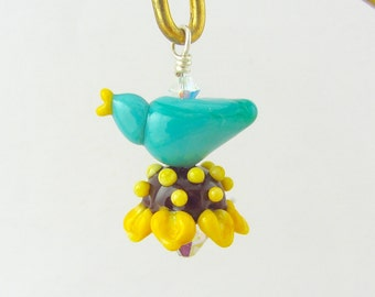 Bird On Flower Pendant - Lampwork Glass Bead Creation SRA