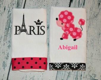 Personalized Poodle Paris Burp Cloth Set of 2  - Girls Burpies MONOGRAM