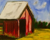 """Original Art - 'Little Shed"""" - 6X6"""" Adorable Acrylic Painting"""