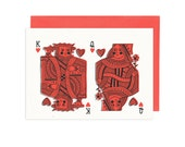 King and Queen of Hearts Illustrated Greeting Card
