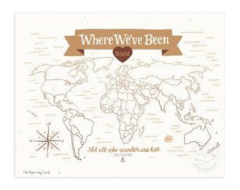 Where We've Been: World Map, Vintage Brown Illustrated Art Print