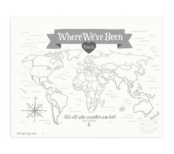 Where We've Been: World Map, Stone Gray Illustrated Art Print