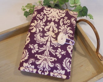 """Folded NOTE TAKER and Organizer Portfolio with Clear Vinyl ID Window...in """"Plum Damask"""""""