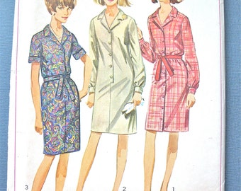 Uncut 1960s Simplicity 6698 Mod One-Piece Dress Pattern Shirtdress Vintage Sewing Pattern Bust 32 inches