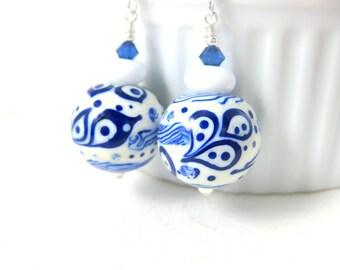 Cobalt Blue Earrings, Blue White Dangle Earrings, Lampwork Earrings, Winter Jewelry, Glass Earrings, Statement Earrings, Round Navy Earrings